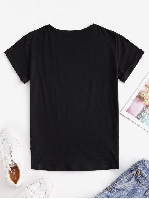 T-shirtCrâne etRose Main Imprimé à Manches Courtes - Noir S Mobile