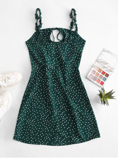 new Ruffled Straps Dotted Tie Collar Mini Dress - DEEP GREEN M Mobile
