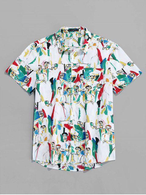 shop ZAFUL Character Print Short Sleeves Shirt - MULTI 2XL Mobile