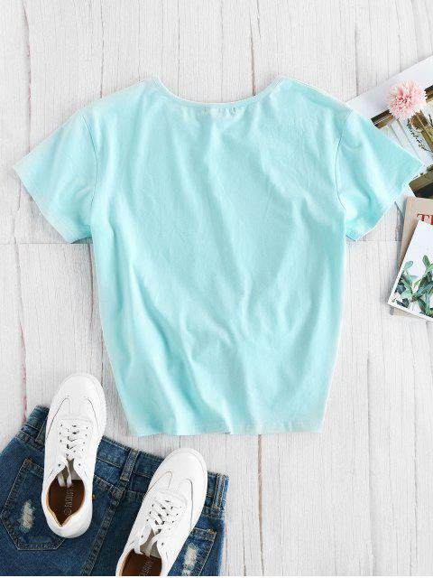 T-Shirt con Grafica di Lettere di ZAFUL - Ardesia Leggera S Mobile