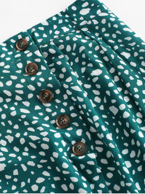 affordable Button Up Dalmatian Dots Asymmetrical Skirt - DEEP GREEN M Mobile