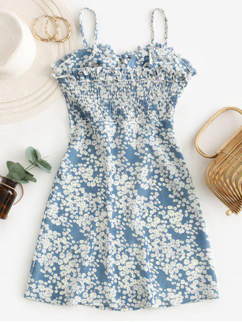 outfit Ditsy Floral Smocked Frilled Cami Summer Dress - BABY BLUE M Mobile
