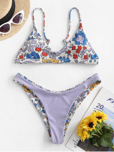 Costume da Bagno Bikini Floreale a Costine di ZAFUL a Taglio Alto - Multi Colori-A S Mobile