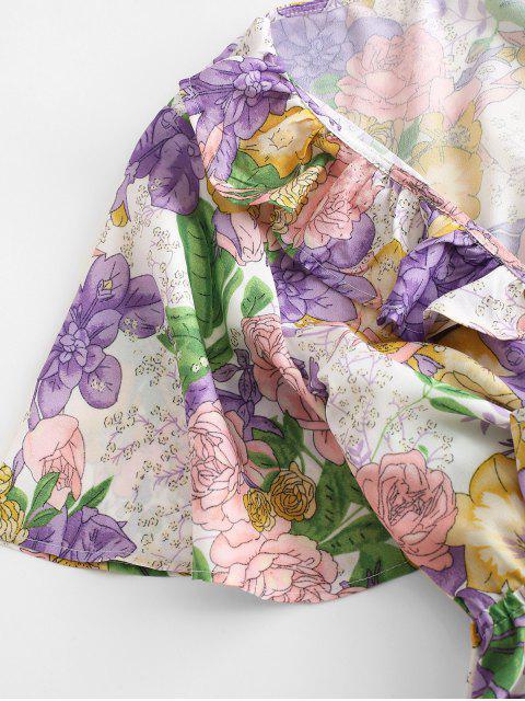 Mini Vestido de Flores con Nudo Delantero - Multicolor-A L Mobile