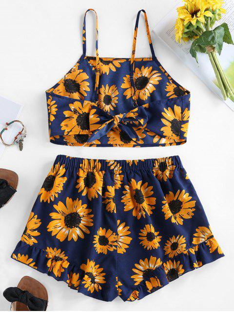 chic ZAFUL Sunflower Knotted Ruffle Two Piece Set - NAVY BLUE XL Mobile