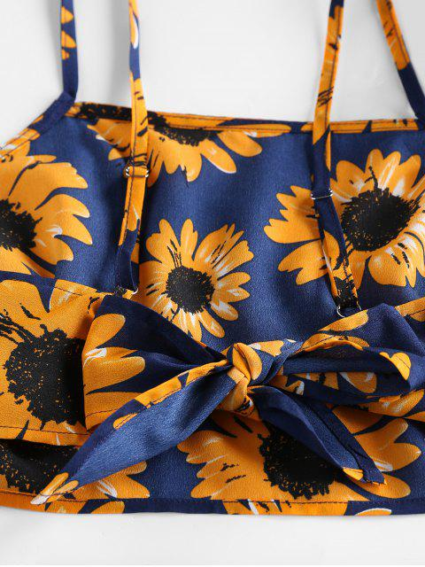 fancy ZAFUL Sunflower Knotted Ruffle Two Piece Set - NAVY BLUE S Mobile
