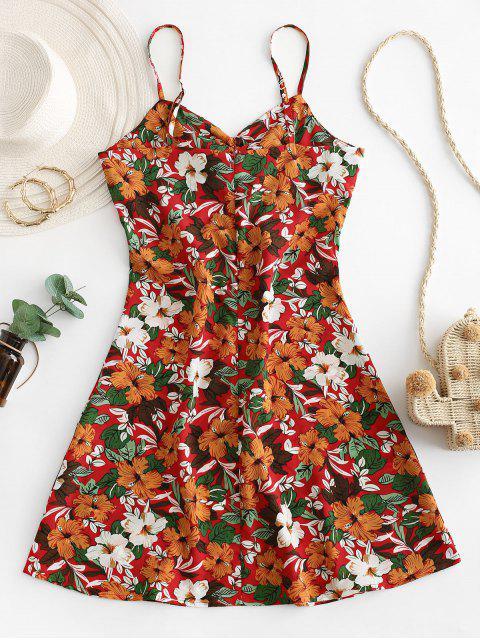 Vestido de Verano con Tirante Fino con Lazo con Estampado de Flores - Multicolor-A M Mobile