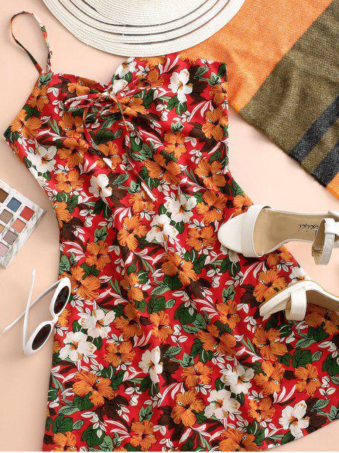 Vestido de Verano con Tirante Fino con Lazo con Estampado de Flores - Multicolor-A XL Mobile