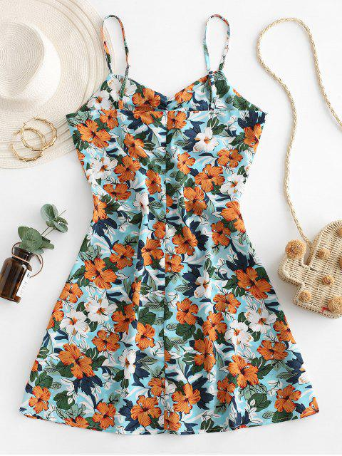 Vestido de Verano con Tirante Fino con Lazo con Estampado de Flores - Multicolor-B M Mobile