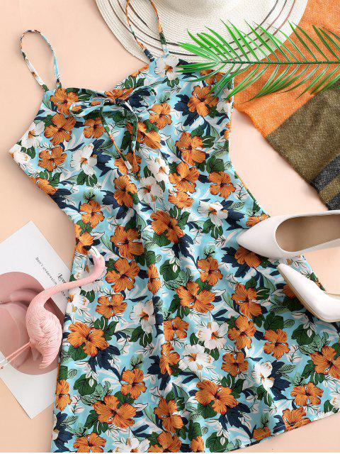 Vestido de Verano con Tirante Fino con Lazo con Estampado de Flores - Multicolor-B L Mobile