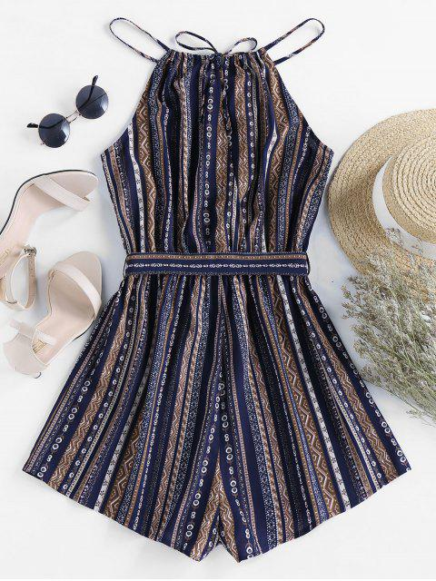best ZAFUL Belted Tribal Print Cami Romper - LAPIS BLUE S Mobile