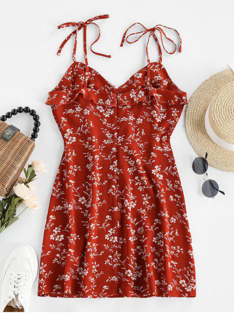 latest ZAFUL Tie Ruffles Ditsy Print Sundress - RED S Mobile