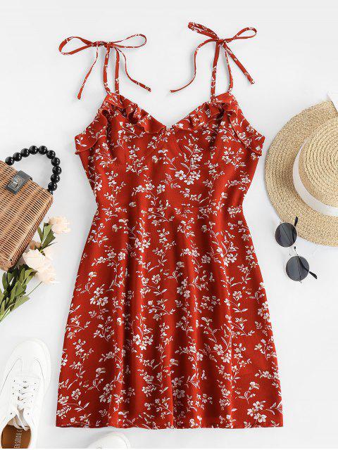 ladies ZAFUL Tie Ruffles Ditsy Print Sundress - RED M Mobile