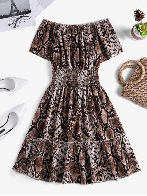 shop Snakeskin Smock Waist Off Shoulder Mini Dress - MULTI-A S Mobile