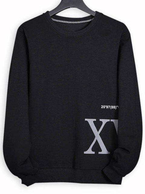 Sweat-shirt Côtelé Lettre Imprimée à Ourlet Tricoté - Noir XS Mobile