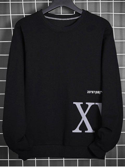 Buchstabedruck Aufziehende Sweatshirt - Schwarz L Mobile