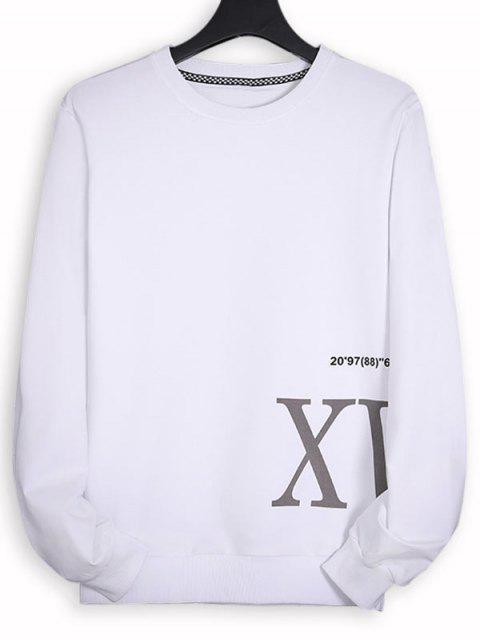 Buchstabedruck Aufziehende Sweatshirt - Weiß XS Mobile
