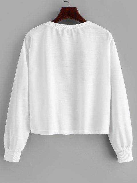 Patriotic American Flag Drop Shoulder Sweatshirt - أبيض XL Mobile