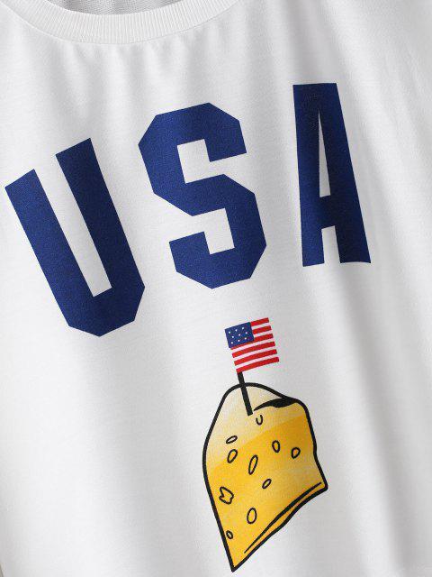 Sudadera Patriótica con Bandera de Estados Unidos con Hombro Caído - Blanco XL Mobile