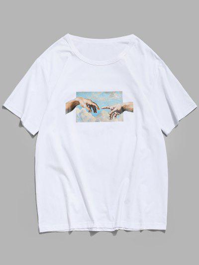 Helping Hands Print Short Sleeves T-shirt - White L