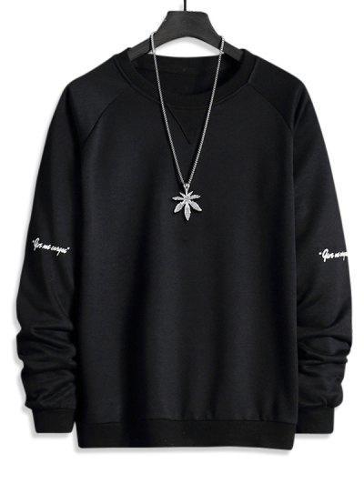 Letter Print Raglan Sleeve Crew Neck Sweatshirt - Black M