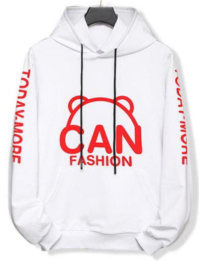 Cartoon Letter Graphic Print Drawstring Hoodie - White Xs