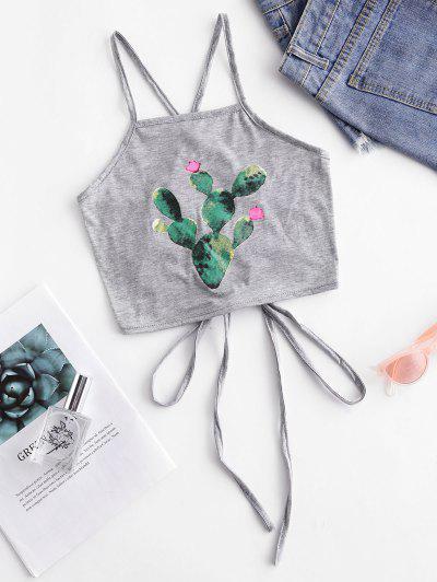 Cactus Print Criss Cross Crop Cami Top - Gray Goose Xl