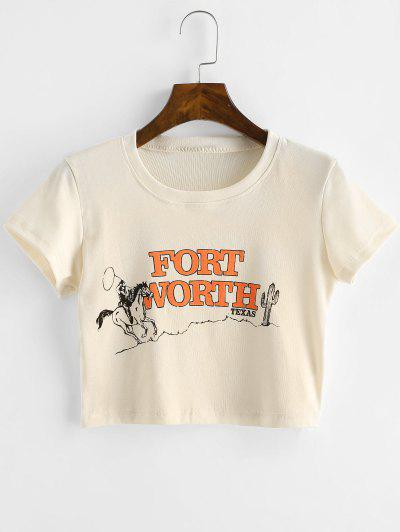 Letter Print Short Sleeves Crop Tee - Apricot M