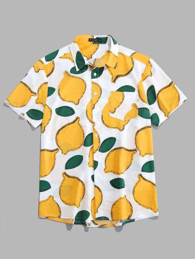 ZAFUL Lemon Pattern Short Sleeves Shirt - White L