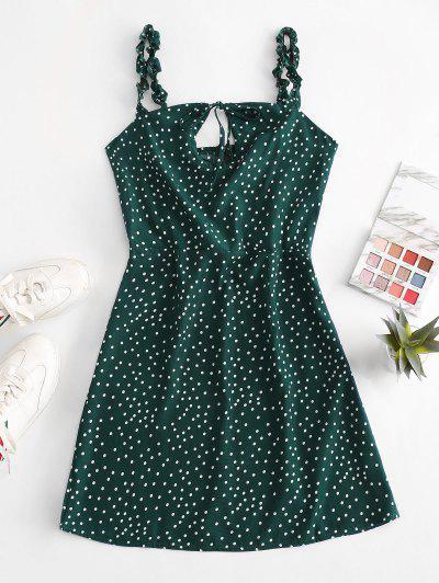 Ruffled Straps Dotted Tie Collar Mini Dress - Deep Green S