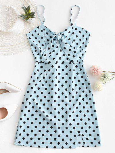 Polka Dot Knotted Slit Cami Summer Dress - Blue Xl