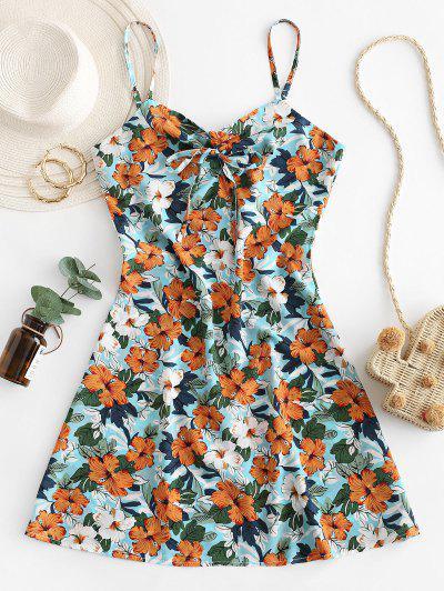Flower Print Tie Cami Summer Dress - Multi-b S