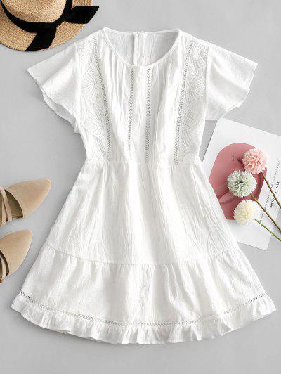 Flutter Sleeve Crochet Lace Panel Mini Dress - White S