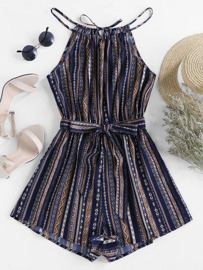 ZAFUL Belted Tribal Print Cami Romper - Lapis Blue S