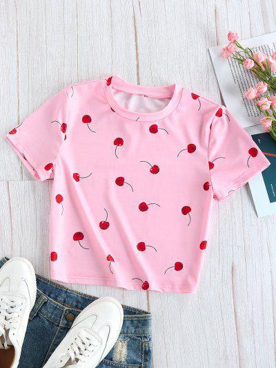 ZAFUL Camiseta Corta Con Estampado - Rosa Brillante S