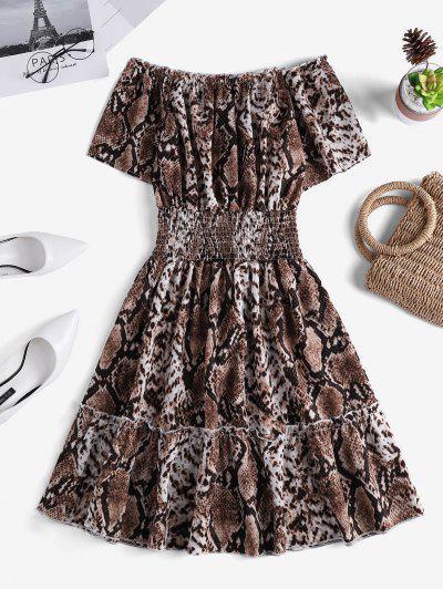 Snakeskin Smock Waist Off Shoulder Mini Dress - Multi-a Xl