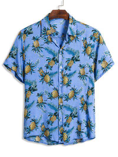 Pineapple Print Short Sleeve Hawaii Shirt - Deep Sky Blue L