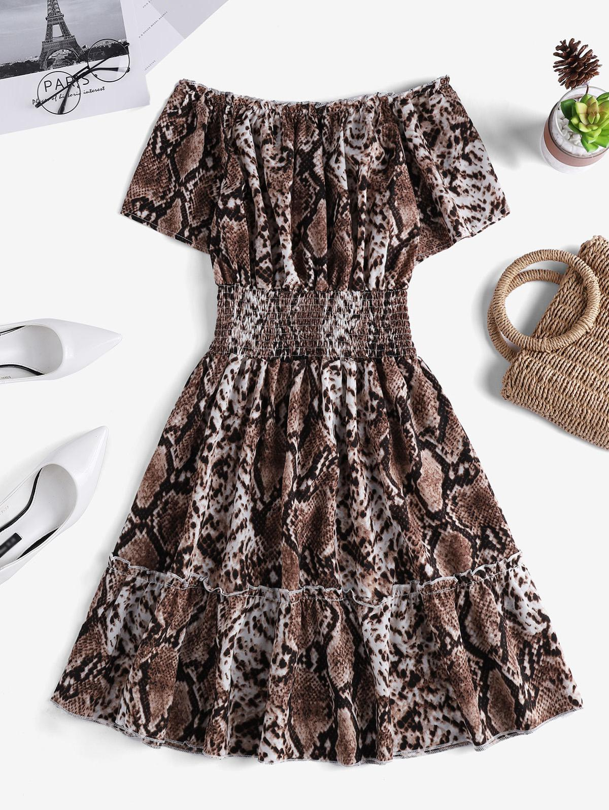 Snakeskin Smock Waist Off Shoulder Mini Dress