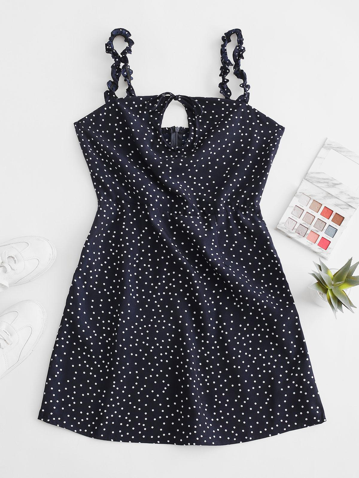 Ruffled Straps Dotted Tie Collar Mini Dress