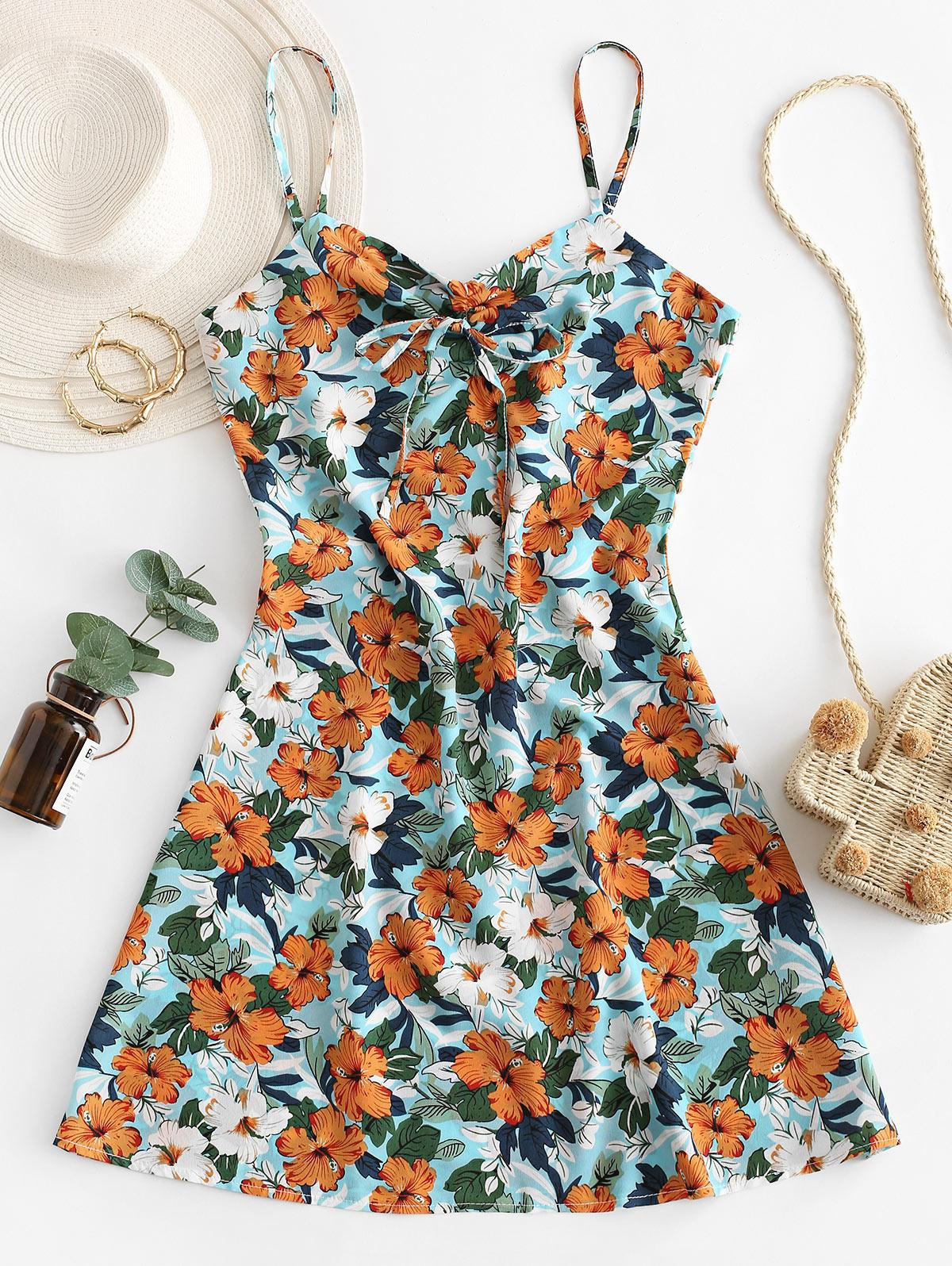 Flower Print Tie Cami Summer Dress