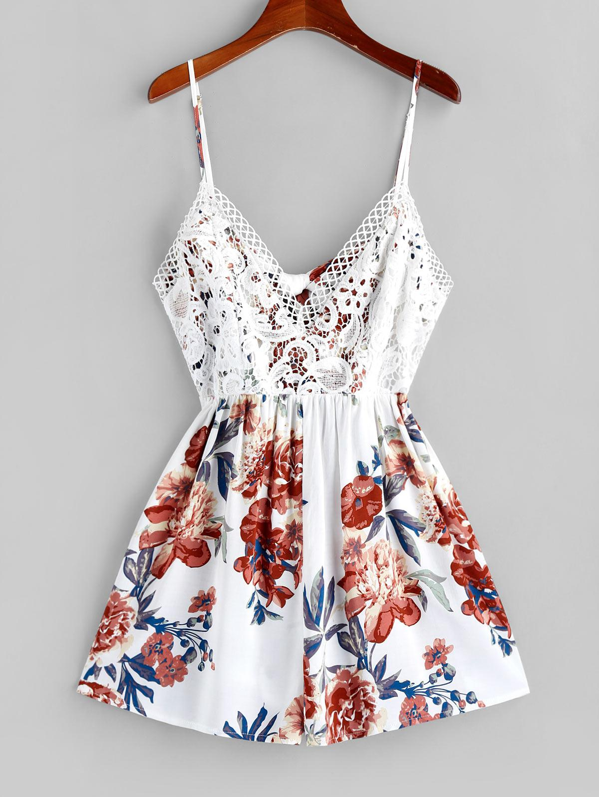 ZAFUL Floral Crochet Lace Overlay Cami Romper