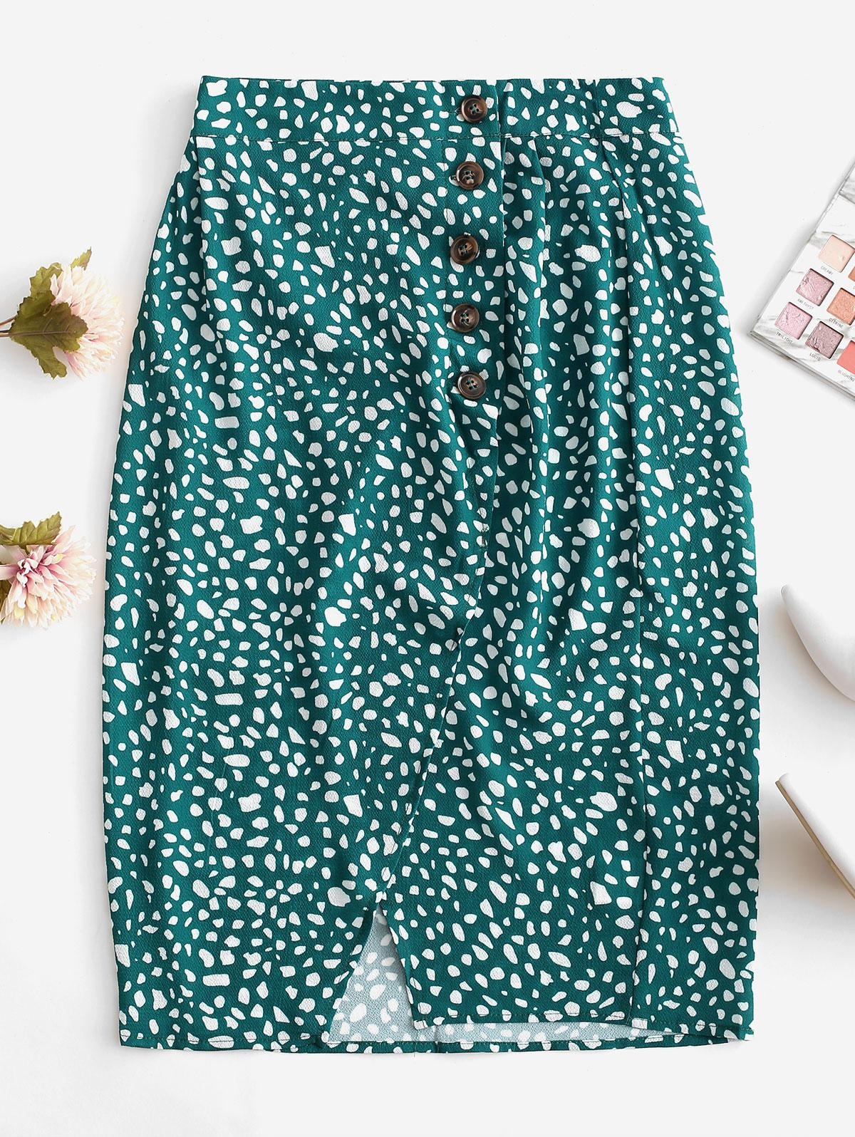 Button Up Dalmatian Dots Asymmetrical Skirt