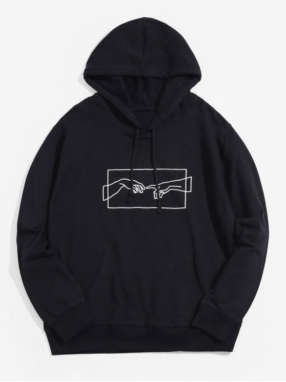 El Grafik Kanguru Cep İpli Hoodie Helping - Siyah M