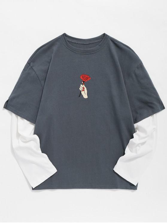 fashion Rose Print False Two Piece T-shirt - DARK GRAY M