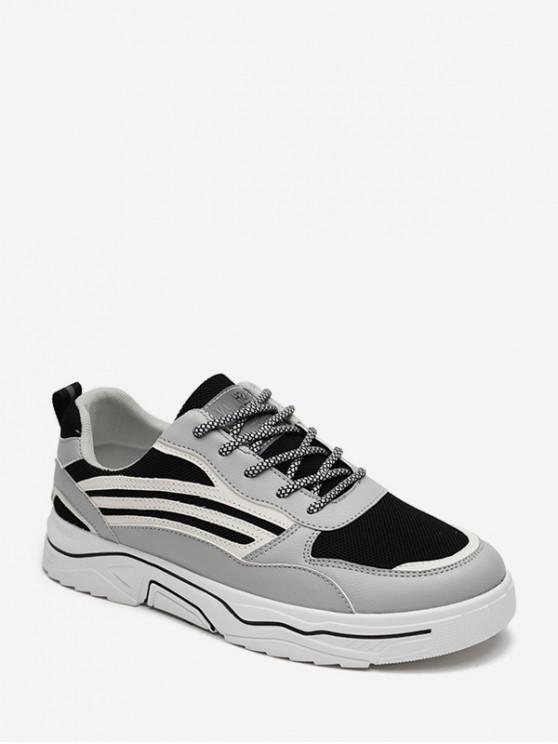 lady Side Striped Breathable Casual Skate Shoes - GRAY EU 40