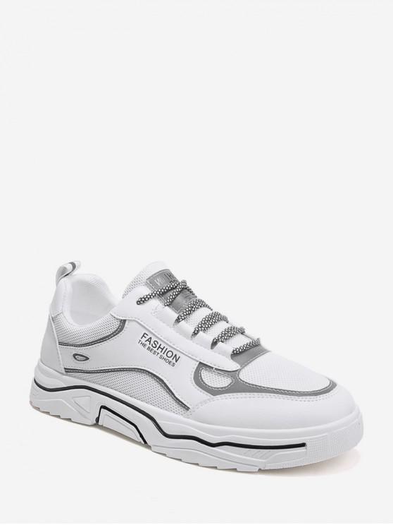 shops Mesh Trim Casual Reflective Skate Shoes - WHITE EU 40