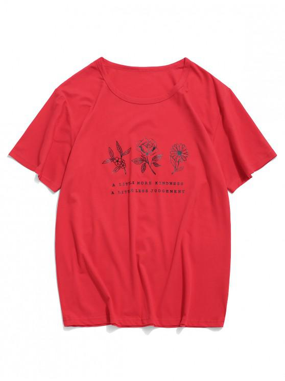 best Floral Graphic Lounge Short Sleeve T Shirt - RED XS