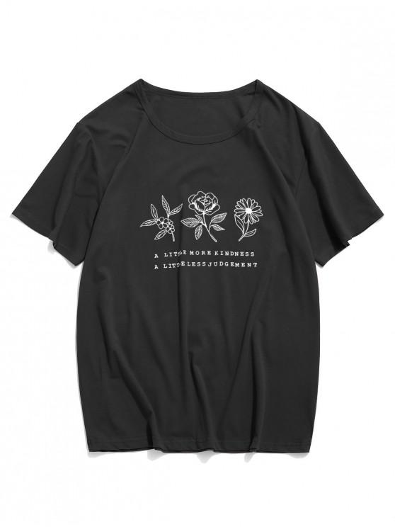 new Floral Graphic Lounge Short Sleeve T Shirt - BLACK XS