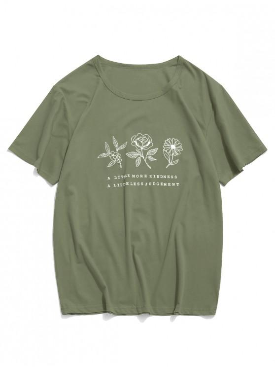 affordable Floral Graphic Lounge Short Sleeve T Shirt - LIGHT GREEN S