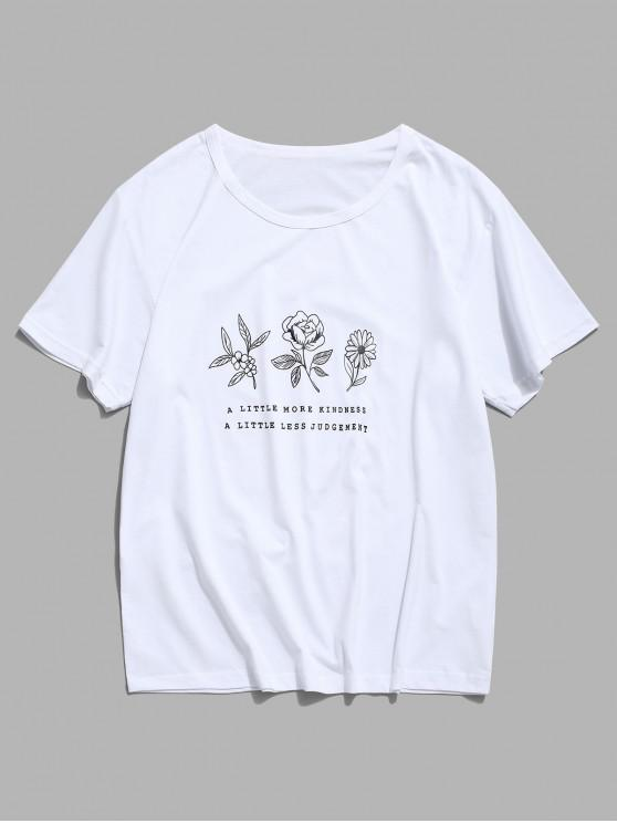 latest Floral Graphic Lounge Short Sleeve T Shirt - WHITE M
